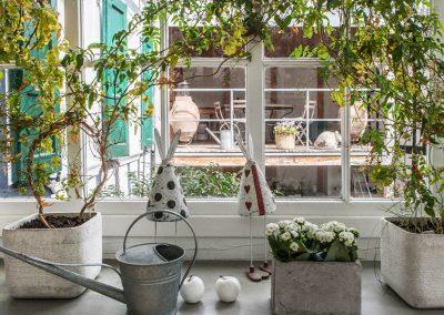 Blick durch Holzsprossenfenster auf die Remise.